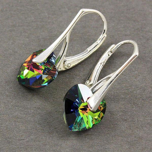 ... Náušnice Swarovski Elements - Srdce zelený třpyt 10mm 1 2 ... 4a22a040ad2